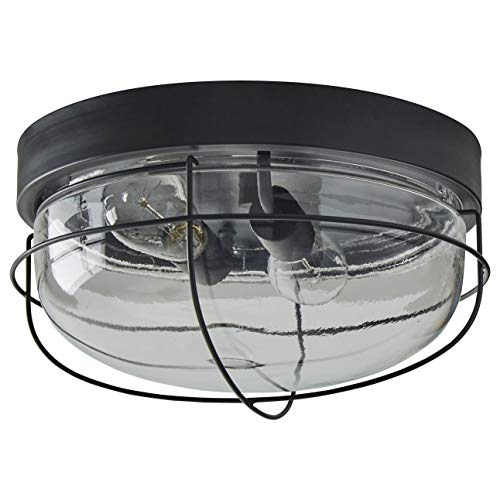 Stone Beam Industrial Cage Flush Mount Indoor Ceiling Fixture With 2 Light Bulbs 14 Inch Oil Rubbed Bronze 0