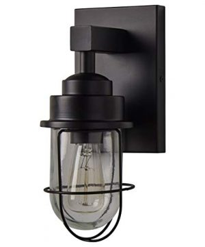 Stone Beam Jordan Industrial Farmhouse Indoor Wall Mount Cage Sconce Fixture With Light Bulb 55 X 7475 X 11 Inches Black 0 300x360
