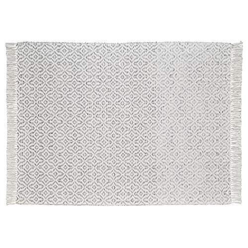 Stone Beam Woven Design Modern Throw Blanket 80 X 60 Inch White And Gray 0 0