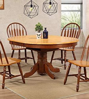 Sunset Trading Oak Selections Dining Room Set Two Size Table Round Or Oval Butterfly Leaf Medium Walnut With Light Top And Seats 0 300x333