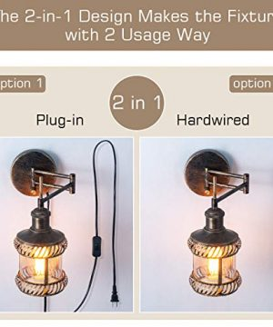 Swing Arm Wall Lamp 2 In 1 360 Angle Adjustable Industrial Rustic Wall Sconces With Plug In Hardwired ONOff Switch Glass Shade Retro Iron Wall Light Fixtures For Bedside Bedroom Bathroom Living Room 0 0 300x360