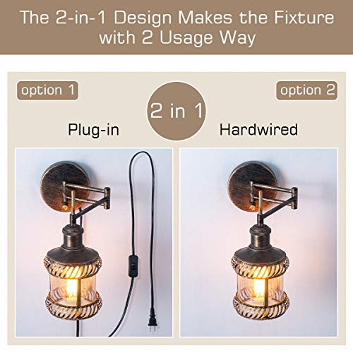 Swing Arm Wall Lamp 2 In 1 360 Angle Adjustable Industrial Rustic Wall Sconces With Plug In Hardwired ONOff Switch Glass Shade Retro Iron Wall Light Fixtures For Bedside Bedroom Bathroom Living Room 0 0
