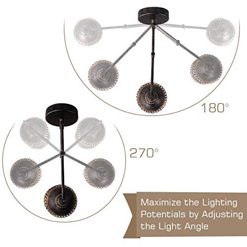 Swing Arm Wall Lamp 2 In 1 360 Angle Adjustable Industrial Rustic Wall Sconces With Plug In Hardwired ONOff Switch Glass Shade Retro Iron Wall Light Fixtures For Bedside Bedroom Bathroom Living Room 0 2