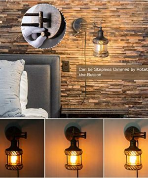 Swing Arm Wall Lamp 2 In 1 360 Angle Adjustable Industrial Rustic Wall Sconces With Plug In Hardwired ONOff Switch Glass Shade Retro Iron Wall Light Fixtures For Bedside Bedroom Bathroom Living Room 0 3 300x360