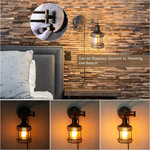 Swing Arm Wall Lamp 2 In 1 360 Angle Adjustable Industrial Rustic Wall Sconces With Plug In Hardwired ONOff Switch Glass Shade Retro Iron Wall Light Fixtures For Bedside Bedroom Bathroom Living Room 0 3