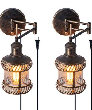 Swing Arm Wall Lamp 2 In 1 360 Angle Adjustable Industrial Rustic Wall Sconces With Plug In Hardwired ONOff Switch Glass Shade Retro Iron Wall Light Fixtures For Bedside Bedroom Bathroom Living Room 0 300x360