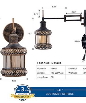 Swing Arm Wall Lamp 2 In 1 360 Angle Adjustable Industrial Rustic Wall Sconces With Plug In Hardwired ONOff Switch Glass Shade Retro Iron Wall Light Fixtures For Bedside Bedroom Bathroom Living Room 0 5 300x360