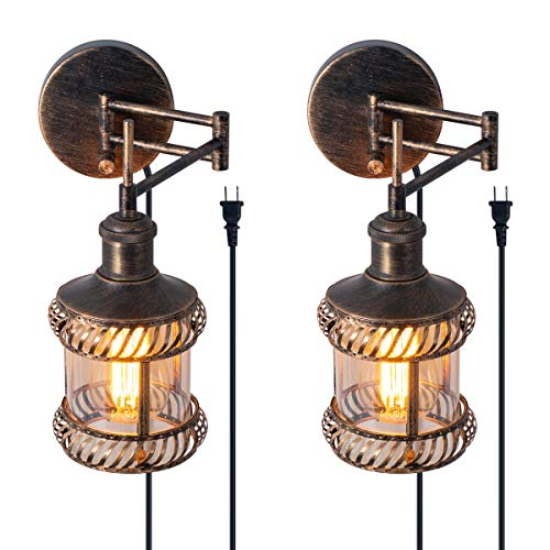 Swing Arm Wall Lamp 2 In 1 360 Angle Adjustable Industrial Rustic Wall Sconces With Plug In Hardwired ONOff Switch Glass Shade Retro Iron Wall Light Fixtures For Bedside Bedroom Bathroom Living Room 0
