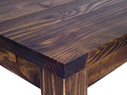TableChamp Dining Table Rio 472 X 315 Inches Oak Antique Dark Brown Solid Pine Wood Oiled Extensions Optional Extendable Expendable Wooden Office Conference Desk Kitchen 0 0