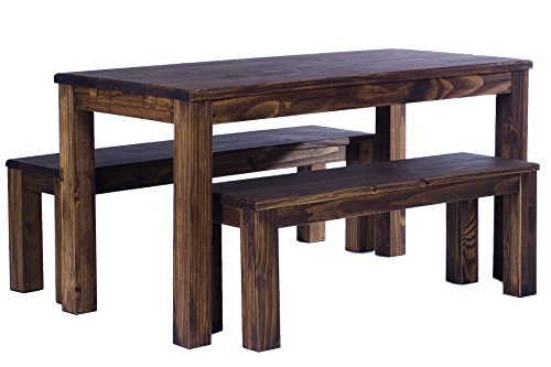TableChamp Dining Table Rio 472 X 315 Inches Oak Antique Dark Brown Solid Pine Wood Oiled Extensions Optional Extendable Expendable Wooden Office Conference Desk Kitchen 0 3