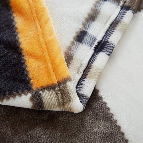 Tache Orange Fall Farmhouse Super Soft Warm Lightweight Plaid Fleece Patchwork Decorative Throw Blanket For Couch Sofa Lap 50x60 0 2