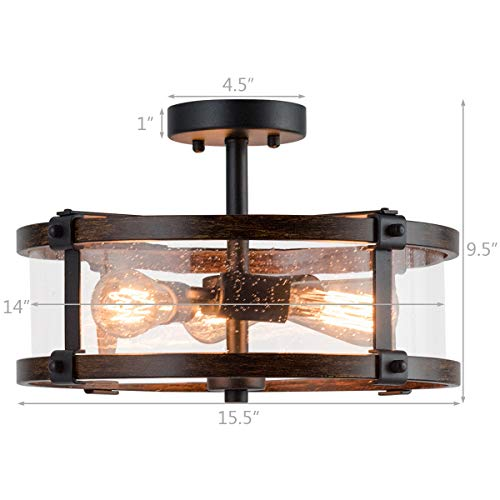 Tangkula Semi Flush Mount Ceiling Light Bubble Glass Ceiling Lamp 3 Light Flush Mount Ceiling Light With High Transparency Bubble Glass Lampshade Suitable For Living Room Kitchen Dining Hall 0 2