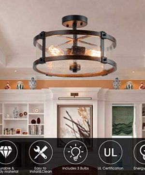 Tangkula Semi Flush Mount Ceiling Light Bubble Glass Ceiling Lamp 3 Light Flush Mount Ceiling Light With High Transparency Bubble Glass Lampshade Suitable For Living Room Kitchen Dining Hall 0 3 300x360
