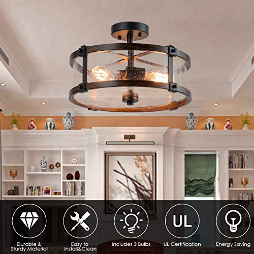 Tangkula Semi Flush Mount Ceiling Light Bubble Glass Ceiling Lamp 3 Light Flush Mount Ceiling Light With High Transparency Bubble Glass Lampshade Suitable For Living Room Kitchen Dining Hall 0 3