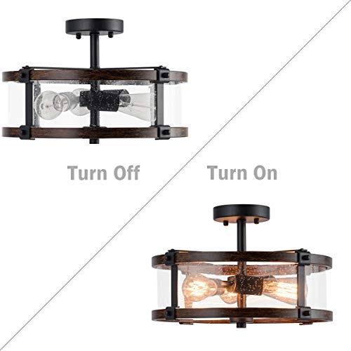Tangkula Semi Flush Mount Ceiling Light Bubble Glass Ceiling Lamp 3 Light Flush Mount Ceiling Light With High Transparency Bubble Glass Lampshade Suitable For Living Room Kitchen Dining Hall 0 4
