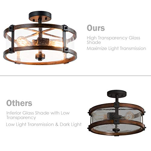 Tangkula Semi Flush Mount Ceiling Light Bubble Glass Ceiling Lamp 3 Light Flush Mount Ceiling Light With High Transparency Bubble Glass Lampshade Suitable For Living Room Kitchen Dining Hall 0 5