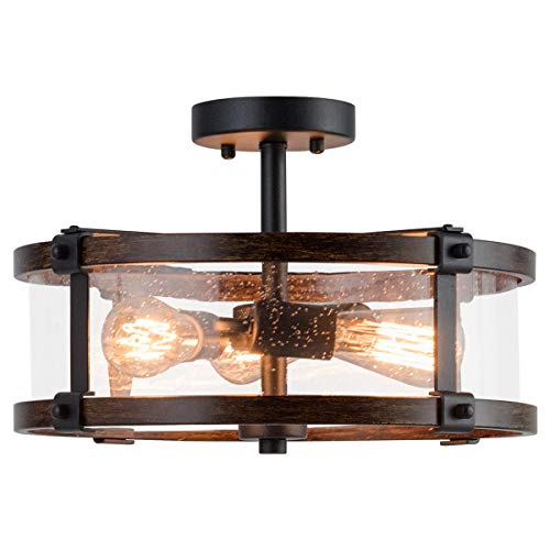 Tangkula Semi Flush Mount Ceiling Light Bubble Glass Ceiling Lamp 3 Light Flush Mount Ceiling Light With High Transparency Bubble Glass Lampshade Suitable For Living Room Kitchen Dining Hall 0