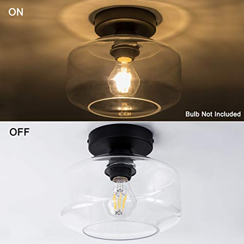 TeHenoo Industrial Ceiling Light Fixture With Clear Glass Shade Semi Flush Mount For Dining Room Bedroom Cafe Bar Corridor Hallway Entryway Passway 0 0