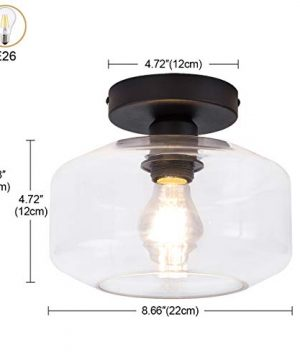 TeHenoo Industrial Ceiling Light Fixture With Clear Glass Shade Semi Flush Mount For Dining Room Bedroom Cafe Bar Corridor Hallway Entryway Passway 0 1 300x360
