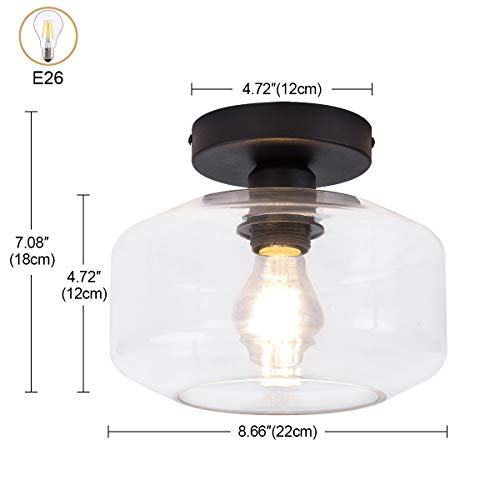 TeHenoo Industrial Ceiling Light Fixture With Clear Glass Shade Semi Flush Mount For Dining Room Bedroom Cafe Bar Corridor Hallway Entryway Passway 0 1