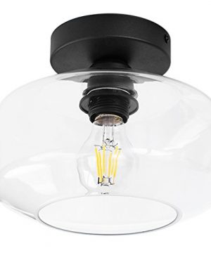 TeHenoo Industrial Ceiling Light Fixture With Clear Glass Shade Semi Flush Mount For Dining Room Bedroom Cafe Bar Corridor Hallway Entryway Passway 0 300x360
