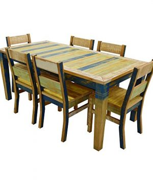 The Beach House Design Sunrise Collection Dining Set 1 71 Table 6 Chairs Solid Wood Distressed Color 0 300x360