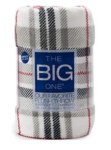 The Big One Super Soft Plush Throw Blanket Gray Red Black Plaid