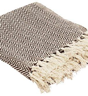 Throws Brown Throw Blanket Cotton Chevron Patterned Blanket Throw With Fringe For Chair Couch Picnic Camping Beach Everyday Use 0 0 300x326