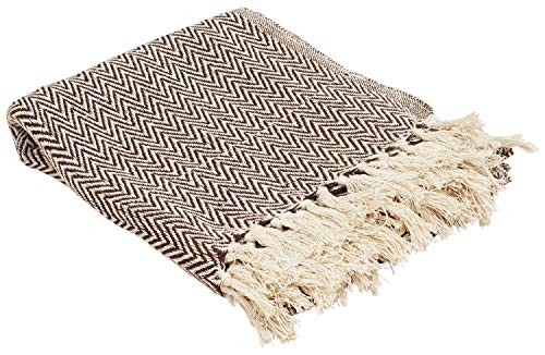 Throws Brown Throw Blanket Cotton Chevron Patterned Blanket Throw With Fringe For Chair Couch Picnic Camping Beach Everyday Use 0 0
