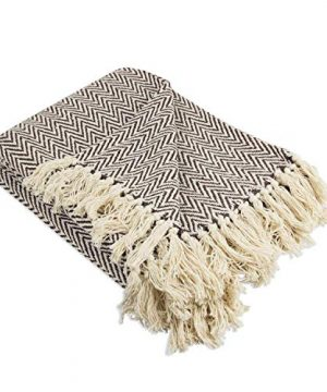 Throws Brown Throw Blanket Cotton Chevron Patterned Blanket Throw With Fringe For Chair Couch Picnic Camping Beach Everyday Use 0 1 300x360