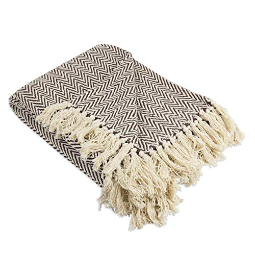 Throws Brown Throw Blanket Cotton Chevron Patterned Blanket Throw With Fringe For Chair Couch Picnic Camping Beach Everyday Use 0 1