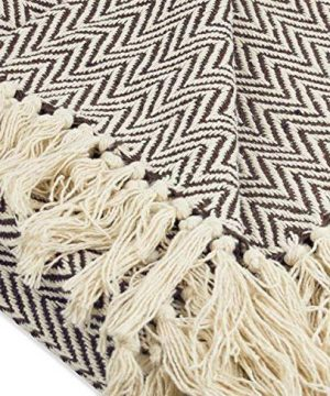 Throws Brown Throw Blanket Cotton Chevron Patterned Blanket Throw With Fringe For Chair Couch Picnic Camping Beach Everyday Use 0 2 300x360