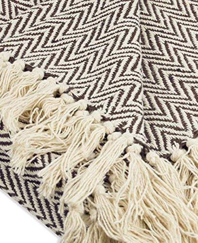 Throws Brown Throw Blanket Cotton Chevron Patterned Blanket Throw With Fringe For Chair Couch Picnic Camping Beach Everyday Use 0 2