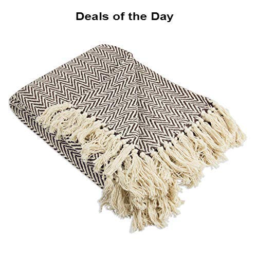 Throws Brown Throw Blanket Cotton Chevron Patterned Blanket Throw With Fringe For Chair Couch Picnic Camping Beach Everyday Use 0