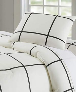 Truly Soft Everyday Kurt Black And White Stripe Comforter Twin XL Windowpane 0 0 300x360