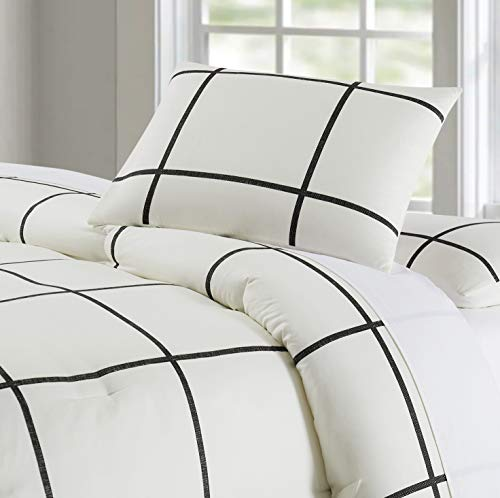 Truly Soft Everyday Kurt Black And White Stripe Comforter Twin XL Windowpane 0 0