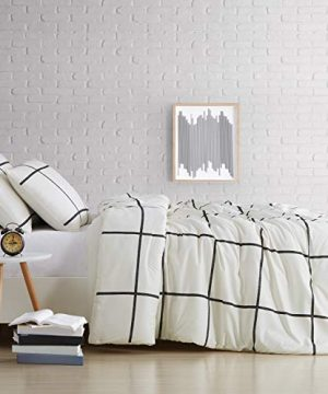 Truly Soft Everyday Kurt Black And White Stripe Comforter Twin XL Windowpane 0 2 300x360