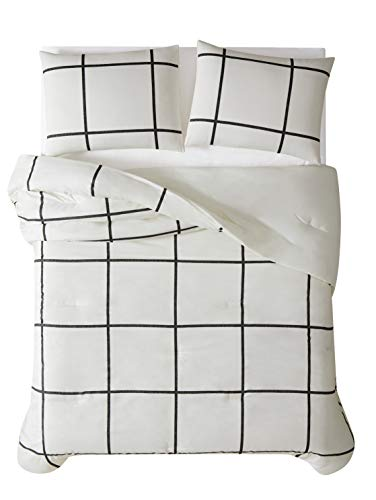 Truly Soft Everyday Kurt Black And White Stripe Comforter Twin XL Windowpane 0 3