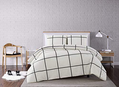 Truly Soft Everyday Kurt Black And White Stripe Comforter Twin XL Windowpane 0
