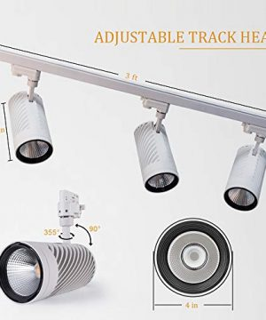 UPO Track Lighting Kit With 3 LED Light Super Bright With 3000 Lumens 4000K High End Commercial Track Lights Advanced Material Easy To Install ETL CTEL Certification White 0 1 300x360