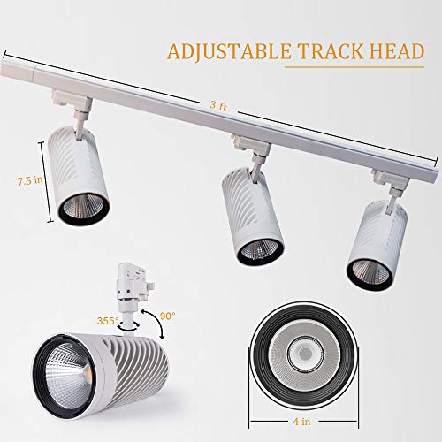 UPO Track Lighting Kit With 3 LED Light Super Bright With 3000 Lumens 4000K High End Commercial Track Lights Advanced Material Easy To Install ETL CTEL Certification White 0 1