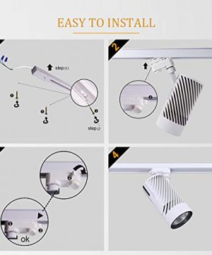 UPO Track Lighting Kit With 3 LED Light Super Bright With 3000 Lumens 4000K High End Commercial Track Lights Advanced Material Easy To Install ETL CTEL Certification White 0 2 300x360
