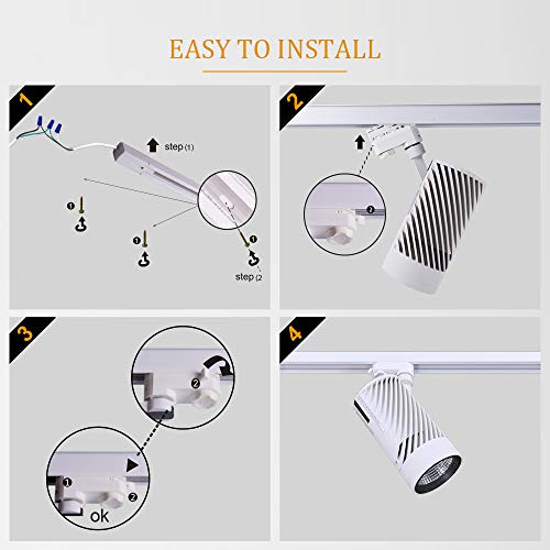 UPO Track Lighting Kit With 3 LED Light Super Bright With 3000 Lumens 4000K High End Commercial Track Lights Advanced Material Easy To Install ETL CTEL Certification White 0 2
