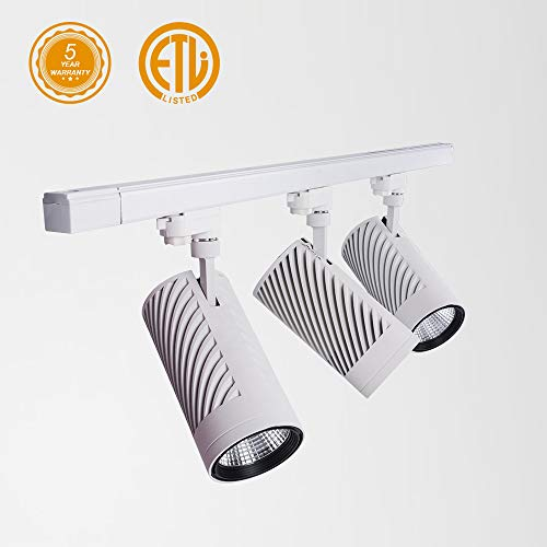UPO Track Lighting Kit With 3 LED Light Super Bright With 3000 Lumens 4000K High End Commercial Track Lights Advanced Material Easy To Install ETL CTEL Certification White 0 3