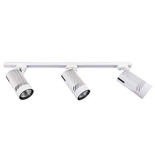 UPO Track Lighting Kit With 3 LED Light Super Bright With 3000 Lumens 4000K High End Commercial Track Lights Advanced Material Easy To Install ETL CTEL Certification White 0