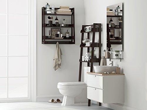 UTEX 3 Tier Bathroom Shelf Wall Mounted With Towel Hooks Bathroom Organizer Shelf Over The Toilet Espresso 0 2