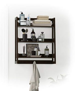UTEX 3 Tier Bathroom Shelf Wall Mounted With Towel Hooks Bathroom Organizer Shelf Over The Toilet Espresso 0 300x360