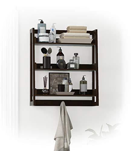 UTEX 3 Tier Bathroom Shelf Wall Mounted With Towel Hooks Bathroom Organizer Shelf Over The Toilet Espresso 0
