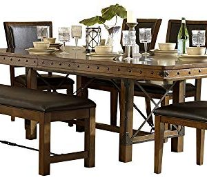 Ulland Industrial Turnbuckle 7PC Dining Set Table 4 Chair Bench In Rustic Brown 0 300x277