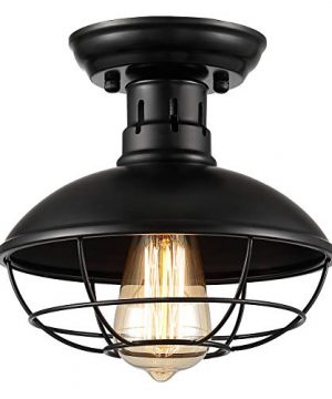 UpgradedZOOSSI Cage Light Fixtures Black Metal Cage Ceiling Light Semi Flush Mount E26 Industrial Vintage Rustic Light Farmhouse For Porch Foyer Kitchen Entryway Industrial Ceiling Light Pendant 0 300x360